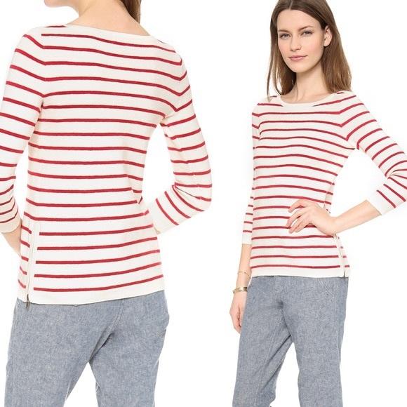 Madewell Seaside side-zip stripe cream sweater